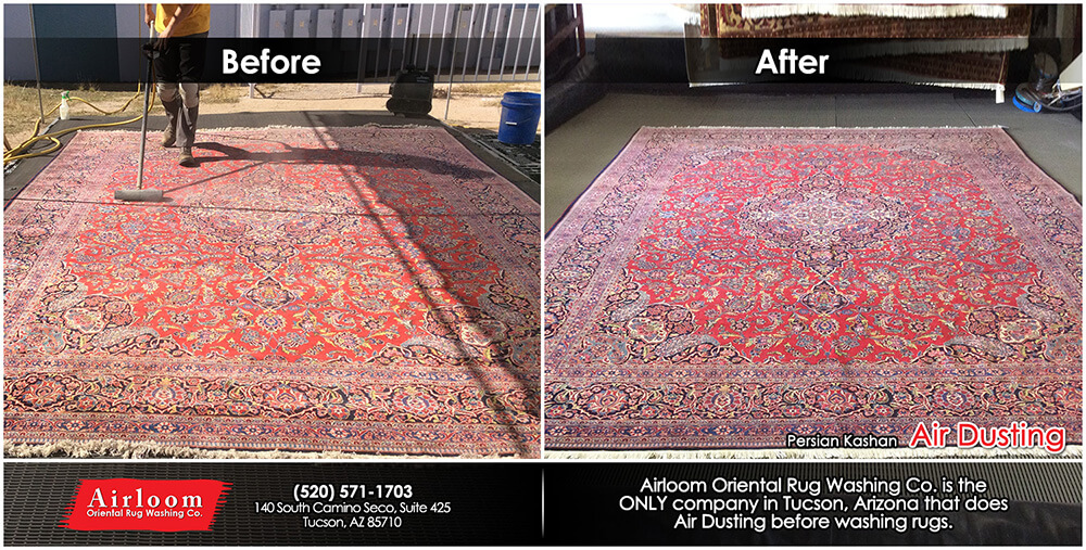 Persian Kashan - Before & After Air Dusting