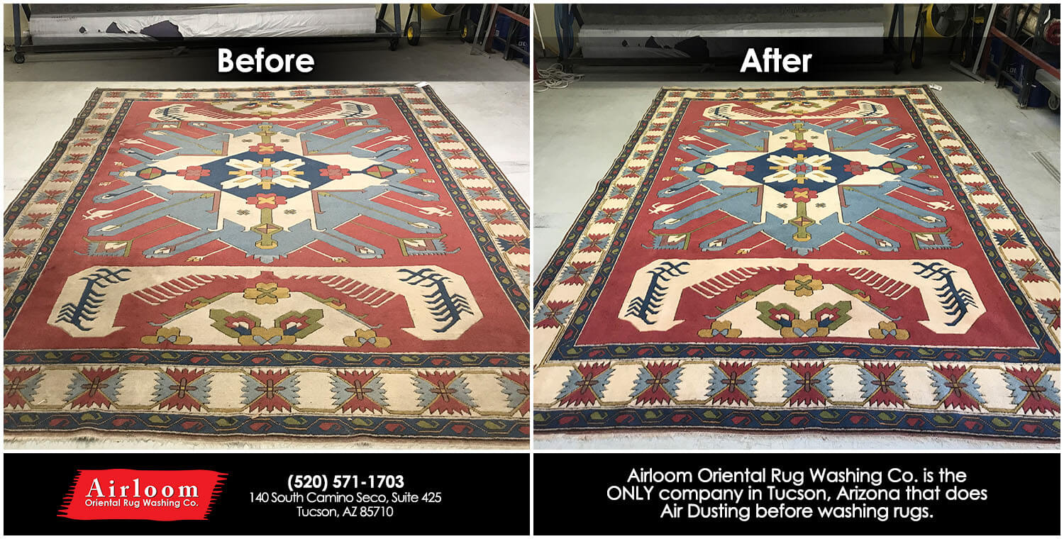 Washing of a hand knotted Turkish Rug - Before & After Air Dusting